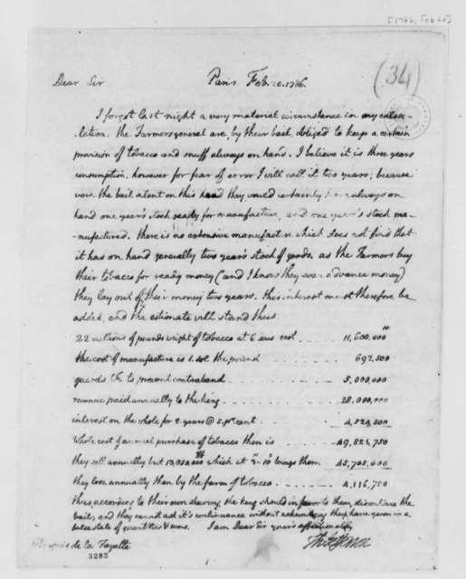 Thomas Jefferson to Marie Joseph Paul Yves Roch Gilbert du Motier, Marquis de Lafayette, February 20, 1786