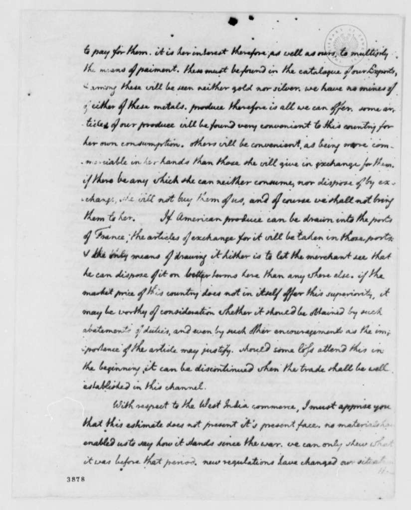 Thomas Jefferson to Marie Joseph Paul Yves Roch Gilbert du Motier, Marquis de Lafayette, July 17, 1786, Estimates of United States Exports and Imports; with Tables