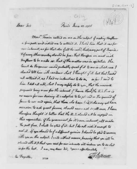 Thomas Jefferson to Marie Joseph Paul Yves Roch Gilbert du Motier, Marquis de Lafayette, June 15, 1786