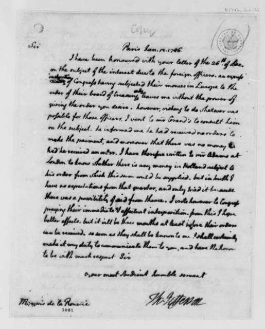 Thomas Jefferson to Marquis de la Rouerie, January 12, 1786