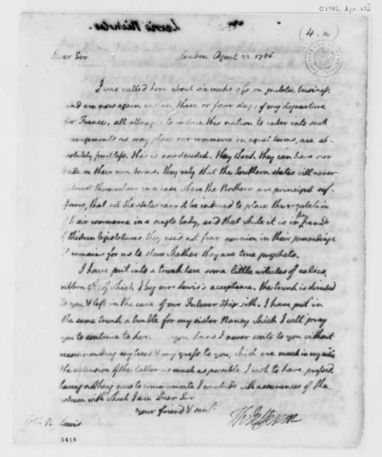 Thomas Jefferson to Nicholas Lewis, April 22, 1786