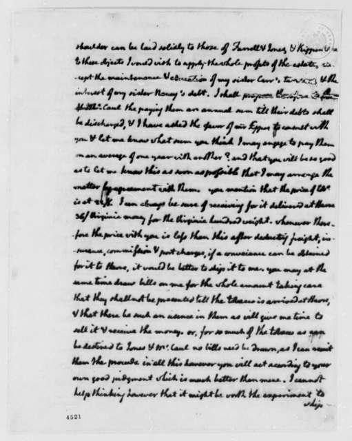 Thomas Jefferson to Nicholas Lewis, December 19, 1786, Expense Account