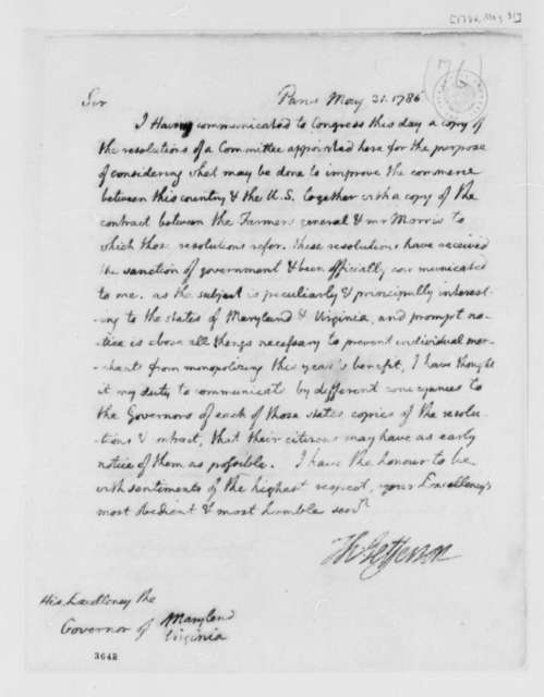 Thomas Jefferson to Patrick Henry and William Smallwood, May 31, 1786, Tobacco Trade Regulations