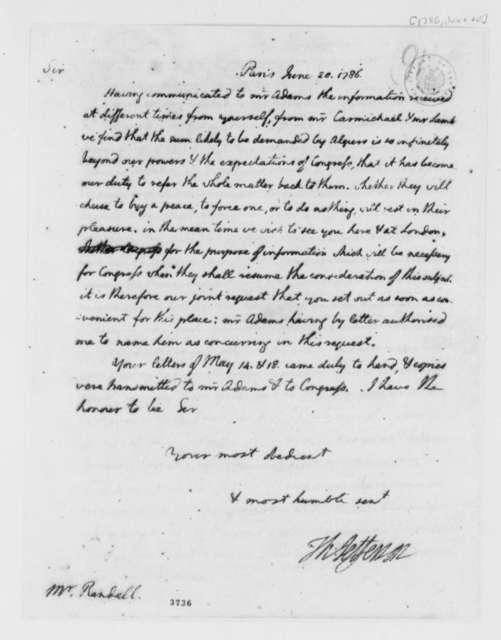 Thomas Jefferson to Paul R. Randall, June 20, 1786