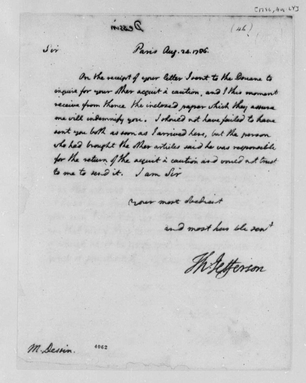 Thomas Jefferson to Pierre Dessin, August 24, 1786
