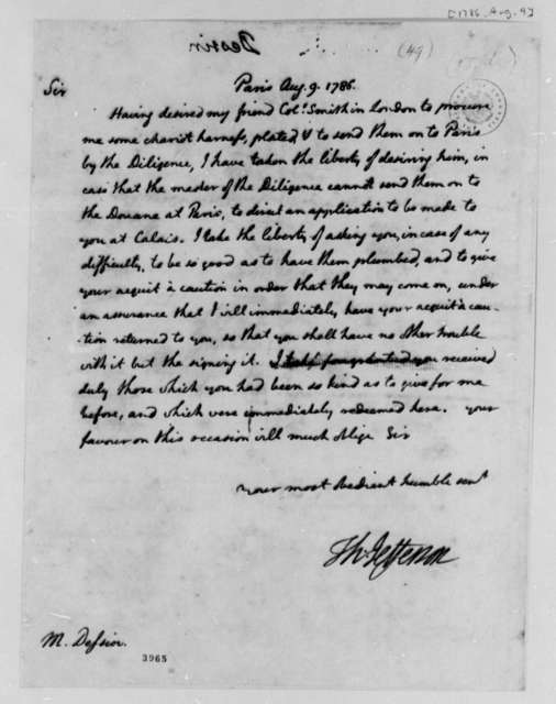 Thomas Jefferson to Pierre Dessin, August 9, 1786