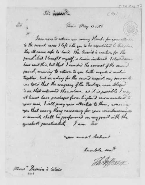 Thomas Jefferson to Pierre Dessin, May 17, 1786