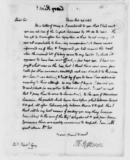 Thomas Jefferson to Richard Cary, December 26, 1786, Book Shipment