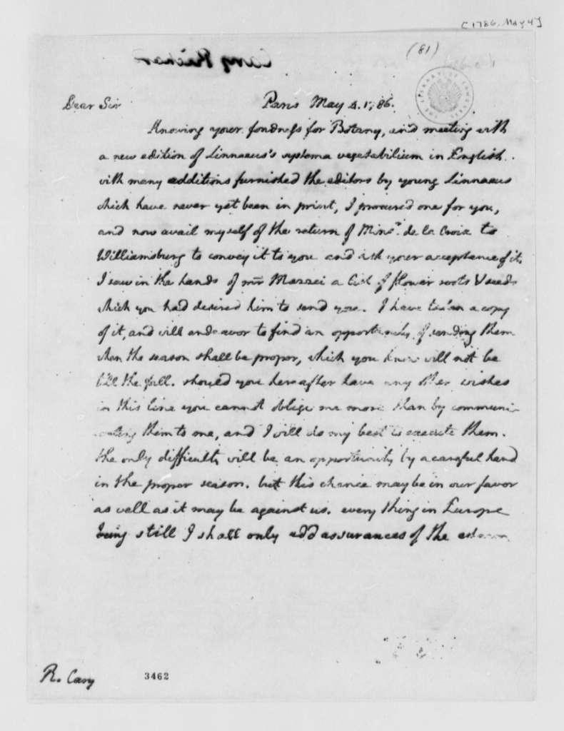 Thomas Jefferson to Richard Cary, May 4, 1786