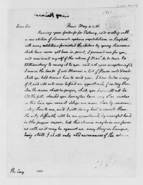 Thomas Jefferson to Richard Cary, May 4, 1786