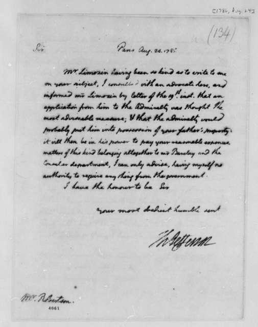 Thomas Jefferson to Robert Robertson, August 24, 1786
