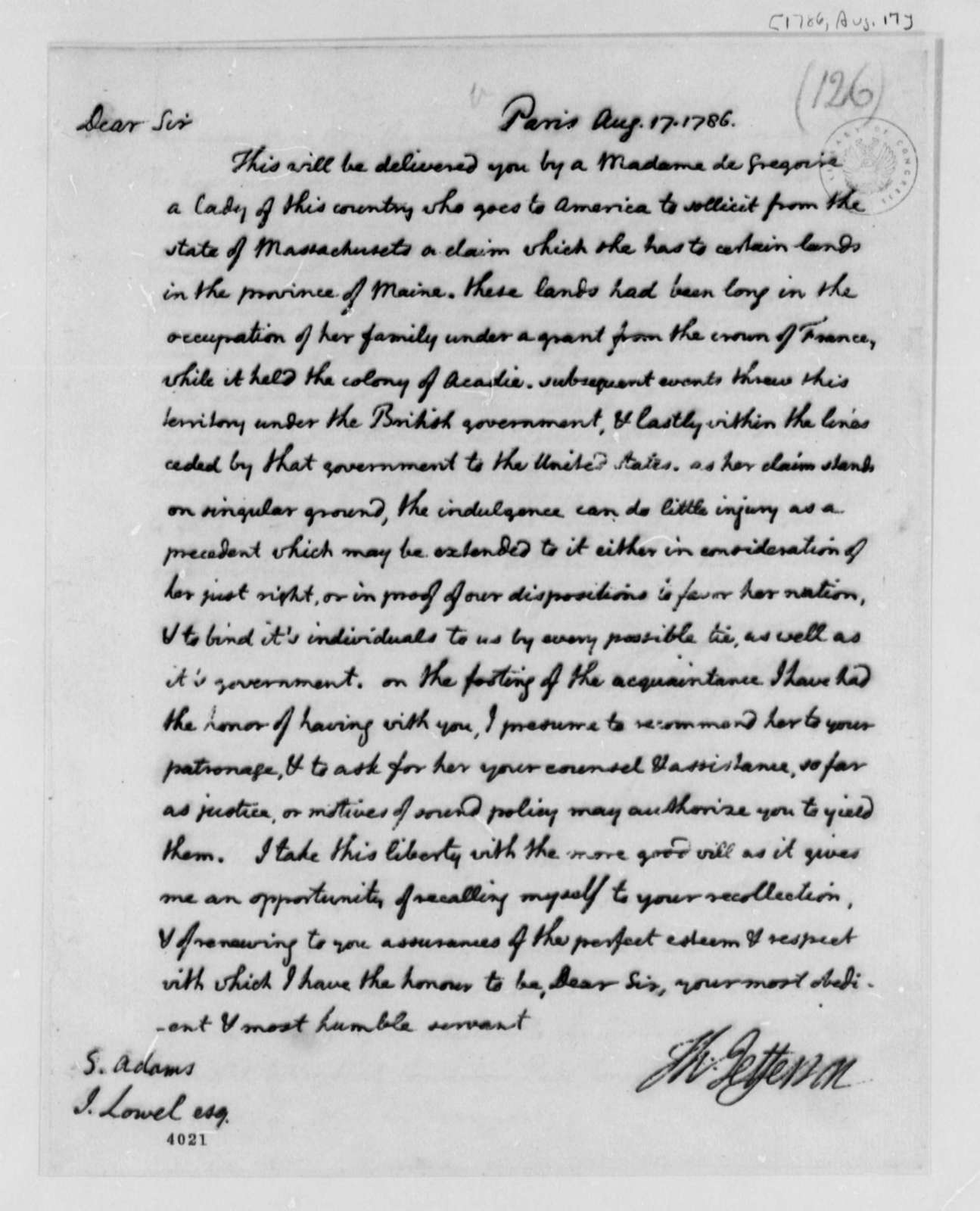 Thomas Jefferson to Samuel Adams and John Lowell, August 17, 1786, Property in Maine Claimed by Madame de Gregoire