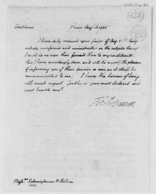 Thomas Jefferson to Schweighauser & Dogree, August 18, 1786