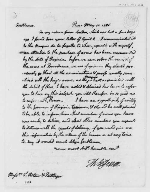 Thomas Jefferson to St. Victour & Bettinger, May 12, 1786, Purchase of Arms for the United States