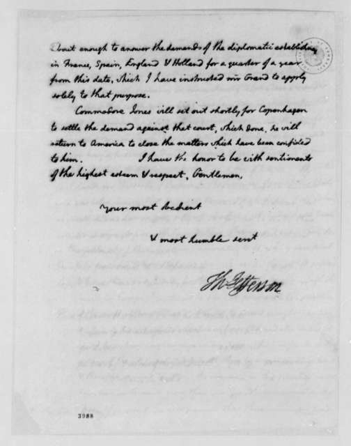 Thomas Jefferson to Treasury Commissioners, August 12, 1786