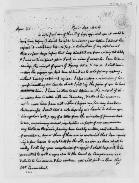Thomas Jefferson to William Carmichael, December 26, 1786