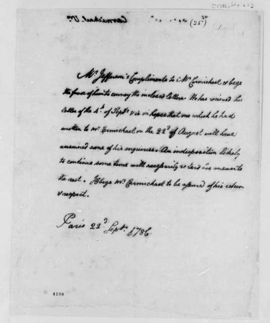 Thomas Jefferson to William Carmichael, September 22, 1786
