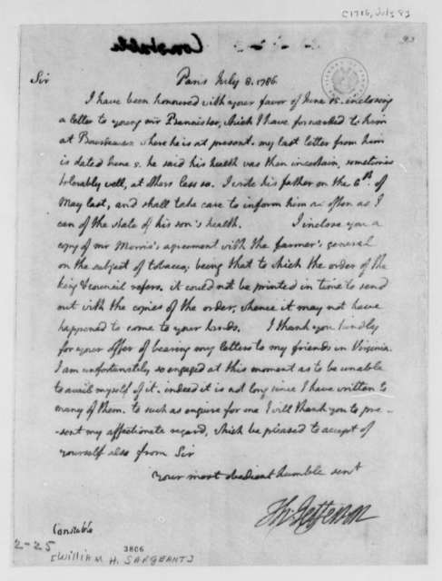 Thomas Jefferson to William H. Sargeant, July 8, 1786
