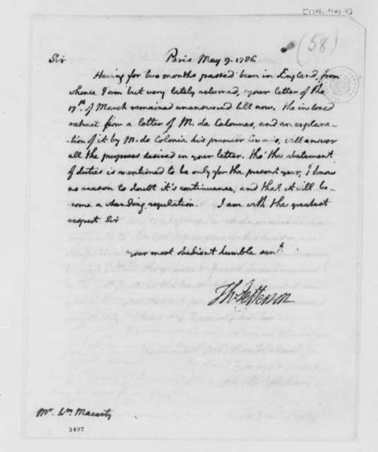 Thomas Jefferson to William Macarty, May 9, 1786, American Whale Oil Trade