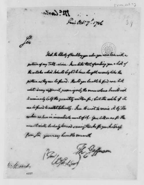 Thomas Jefferson to William Macarty, October 7, 1786, with List of Tableware