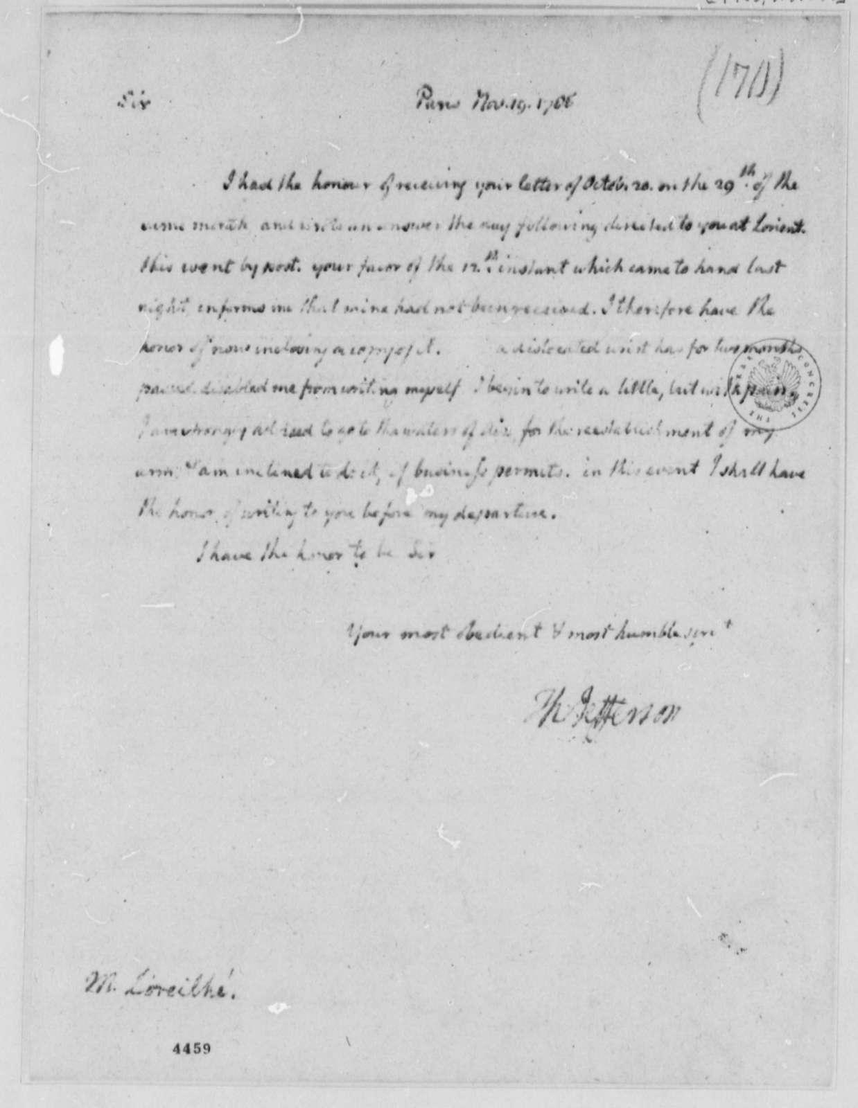 Thomas Jefferson to Zachariah Loreilhe, November 19, 1786