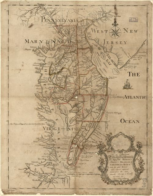 To the American Philosophical Society, this map of the peninsula between Delaware & Chesopeak bays, with the said bays and shores adjacent drawn from the most accurate surveys is humbly inscribed by John Churchman.
