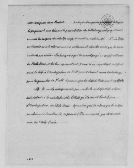 United States Finances and Debt, November 12, 1786, Dutch Proposal to Take Over French Loan to the United States; in French