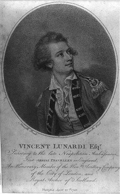 Vincent Lunardi Esqr., secretary to the late Neapolitan ambassador, first aerial traveller in England. An honorary member of the Honble. Artillery Company of the City of London and Royal Archer of Scotland / Nesmith, pinxt. ; Burke, fecit.