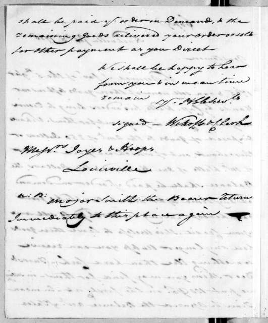 Wickoff & Clark - Tennessee to Joyes & Hoops, February 3, 1786