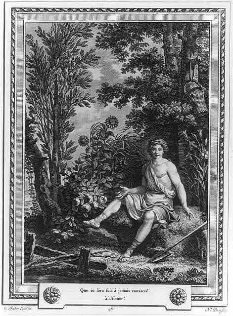 [Youth seated amid trees and flowers; basket on branch and shovel on ground]