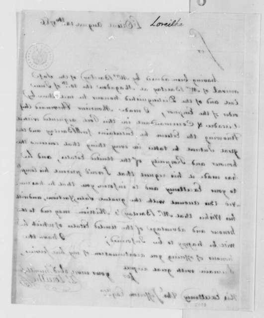 Zachariah Loreilhe to Thomas Jefferson, August 14, 1786