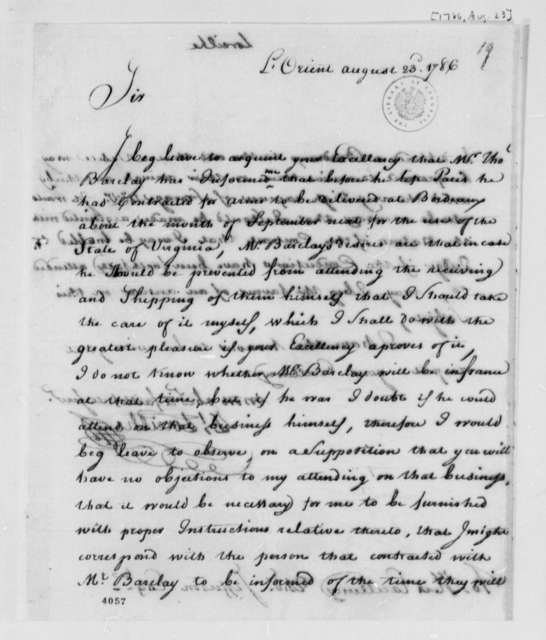 Zachariah Loreilhe to Thomas Jefferson, August 23, 1786