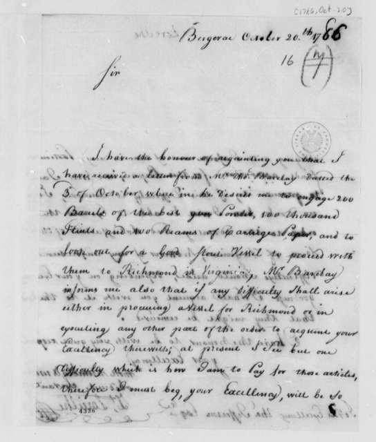 Zachariah Loreilhe to Thomas Jefferson, October 20, 1786