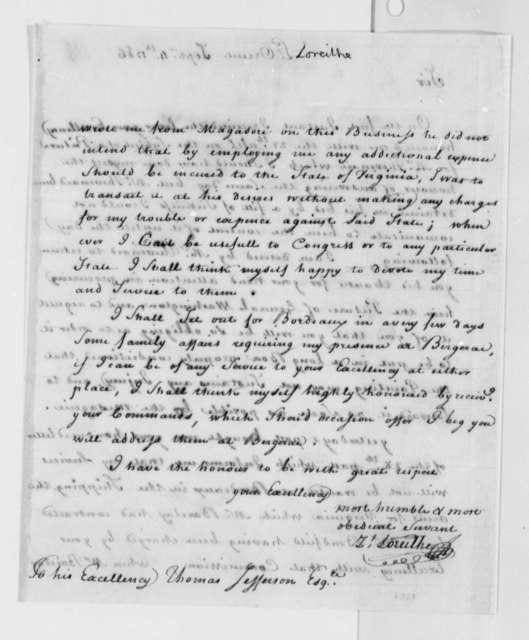 Zachariah Loreilhe to Thomas Jefferson, September 4, 1786