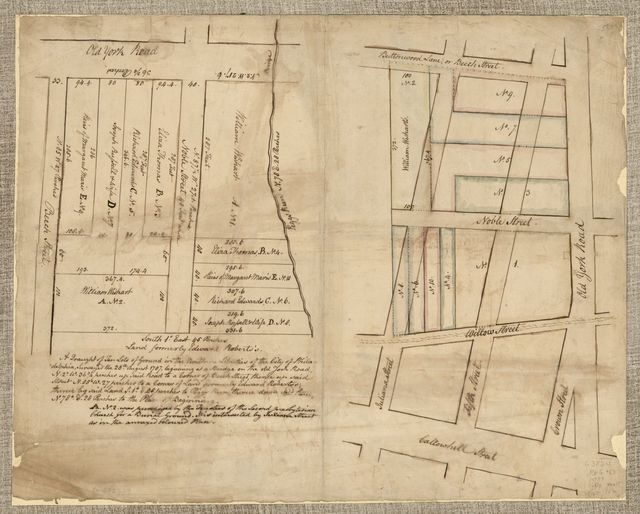 A Draught of ten lots of ground in the northern liberties of the city of Philadelphia, surveyed the 28th August 1787, beginning at a bridge on the old York Road, N. 2⁰. W. 36 3/4 perches up said road to a corner of Beech Street, thence up said street N. 85⁰. W. 27 perches to a corner of land formerly Edward Roberts'; thence by said land S. 1⁰. E. 45 perches to Peggs Run, thence down said run, N. 78⁰. E. 28 perches to the place of beginning.