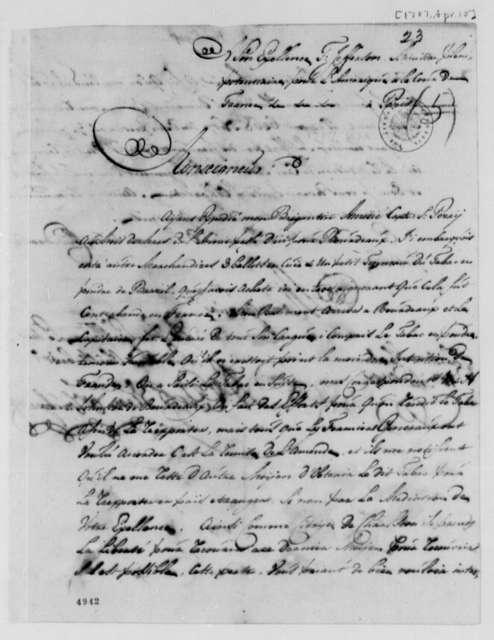 A. E. van Braam Houckgeeste to Thomas Jefferson, April 10, 1787, in French