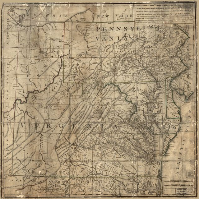 A map of the country between Albemarle Sound, and Lake Erie, comprehending the whole of Virginia, Maryland, Delaware and Pensylvania, with parts of several other of the United States of America.