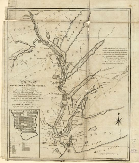 A map of the great river St. John & waters (the first ever published) from the Bay of Fundy, up to St. Anns or Frederick's Town; being little known by white people, until 1783; settled by the American Loyalists, then part of Nova Scotia, now called New Brunswick from an actual survey, made in the years 1784, 85, 86 and 87,