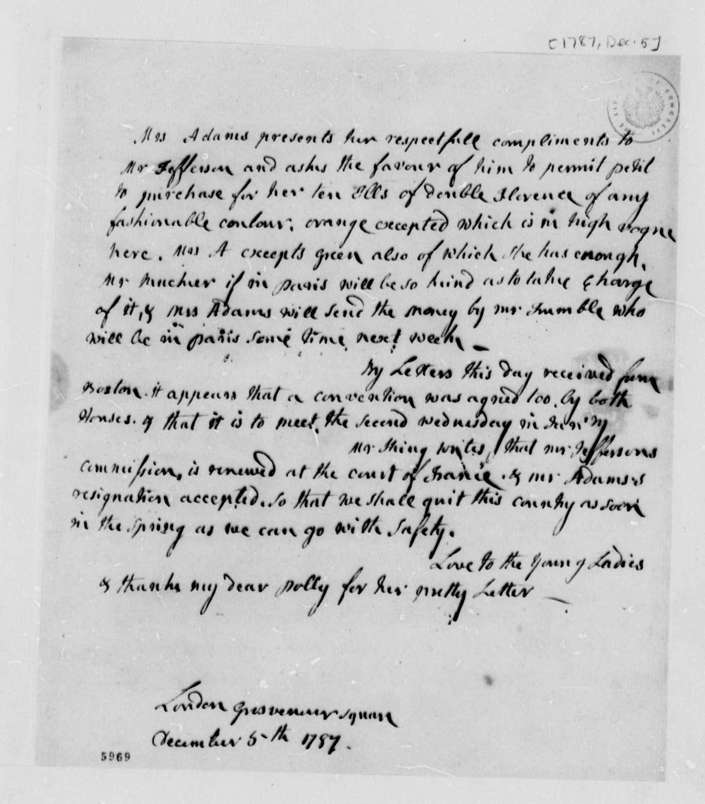 Abigail Smith Adams to Thomas Jefferson, December 5, 1787