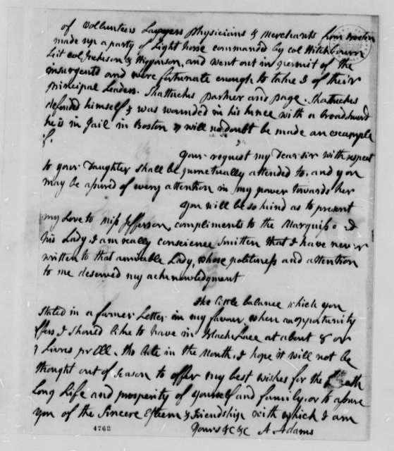 Abigail Smith Adams to Thomas Jefferson, January 29, 1787