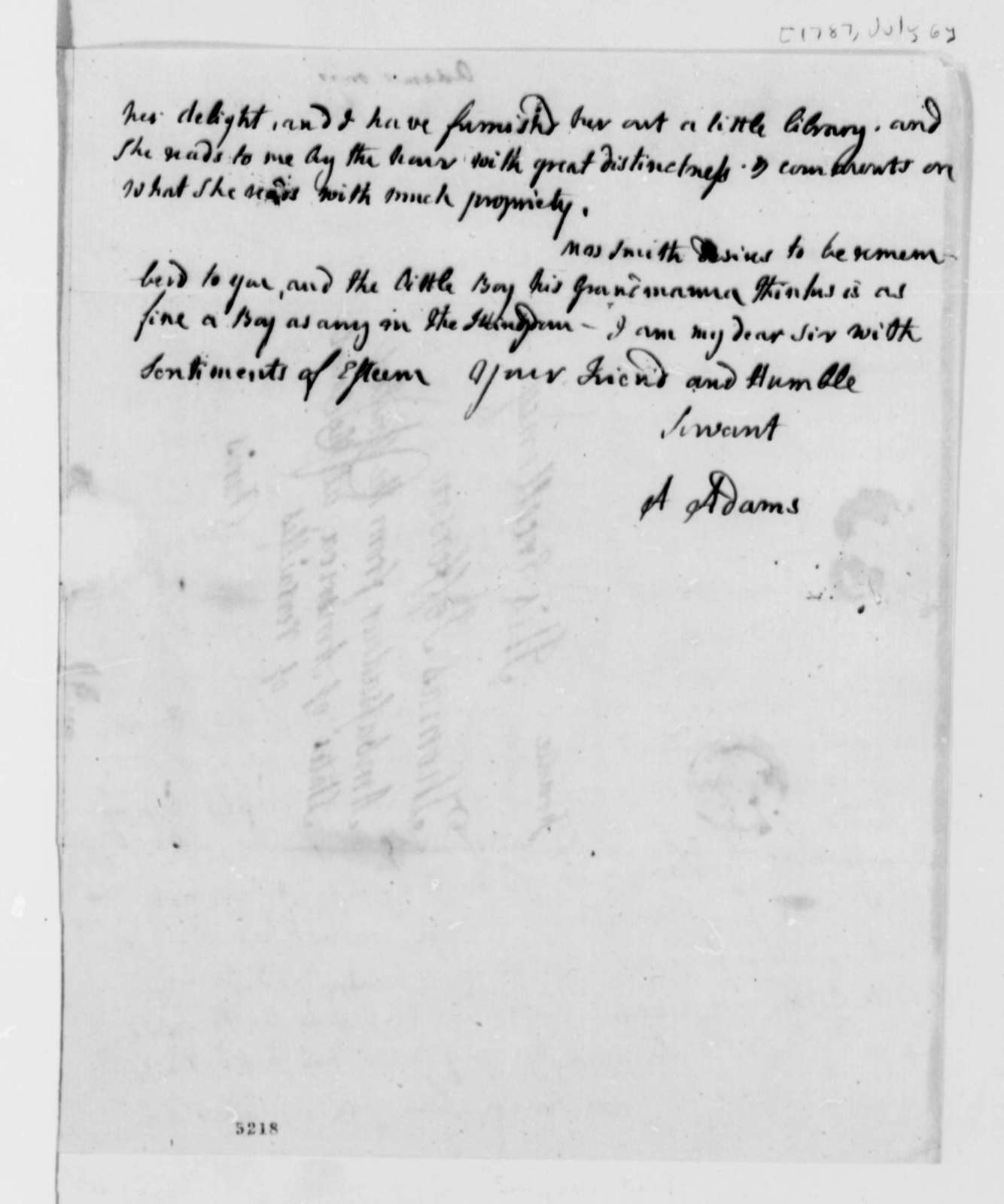 Abigail Smith Adams to Thomas Jefferson, July 6, 1787
