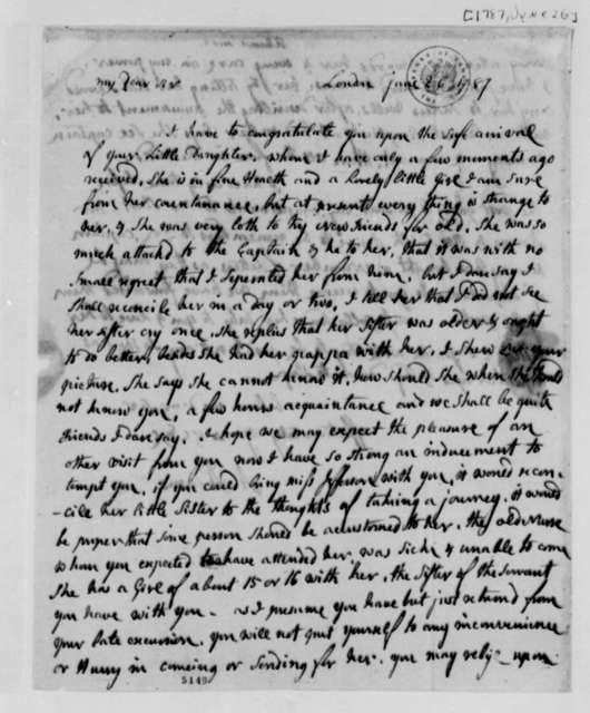 Abigail Smith Adams to Thomas Jefferson, June 26, 1787