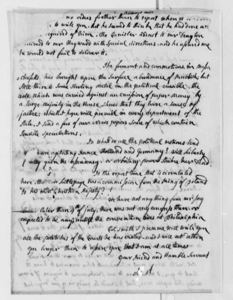 Abigail Smith Adams to Thomas Jefferson, September 10, 1787