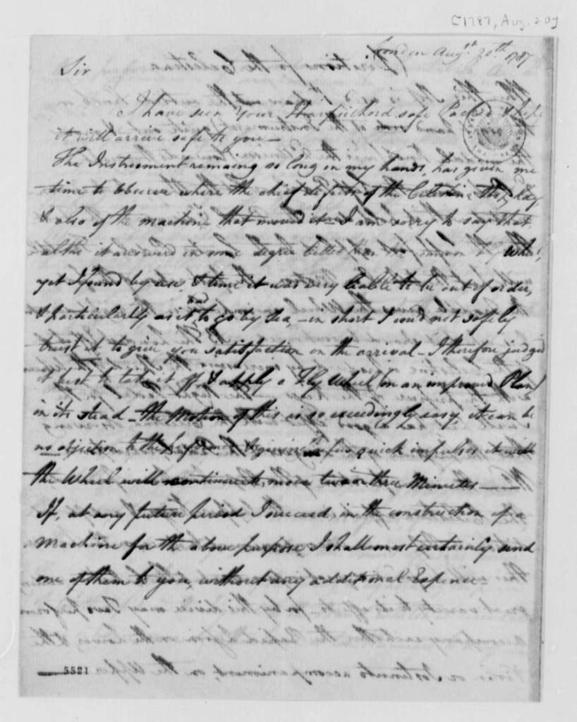 Adam Walker to Thomas Jefferson, August 20, 1787