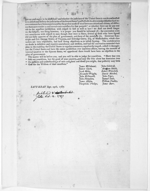 An address of the subscribers members of the late House of representatives of the Commonwealth of Pennsylvania to their constituents ... [Signed by 16 members] Saturday Sept. 29th, 1787. [Phildelphia, 1787] [Positive Photostat.].