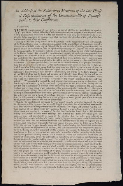 An Address of the subscribers members of the late House of Representatives of the Commonwealth of Pennsylvania to their constituents.