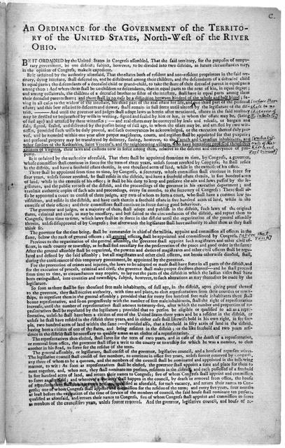 An ordinance for the government of the territory of the United States, North-west of the river Ohio.