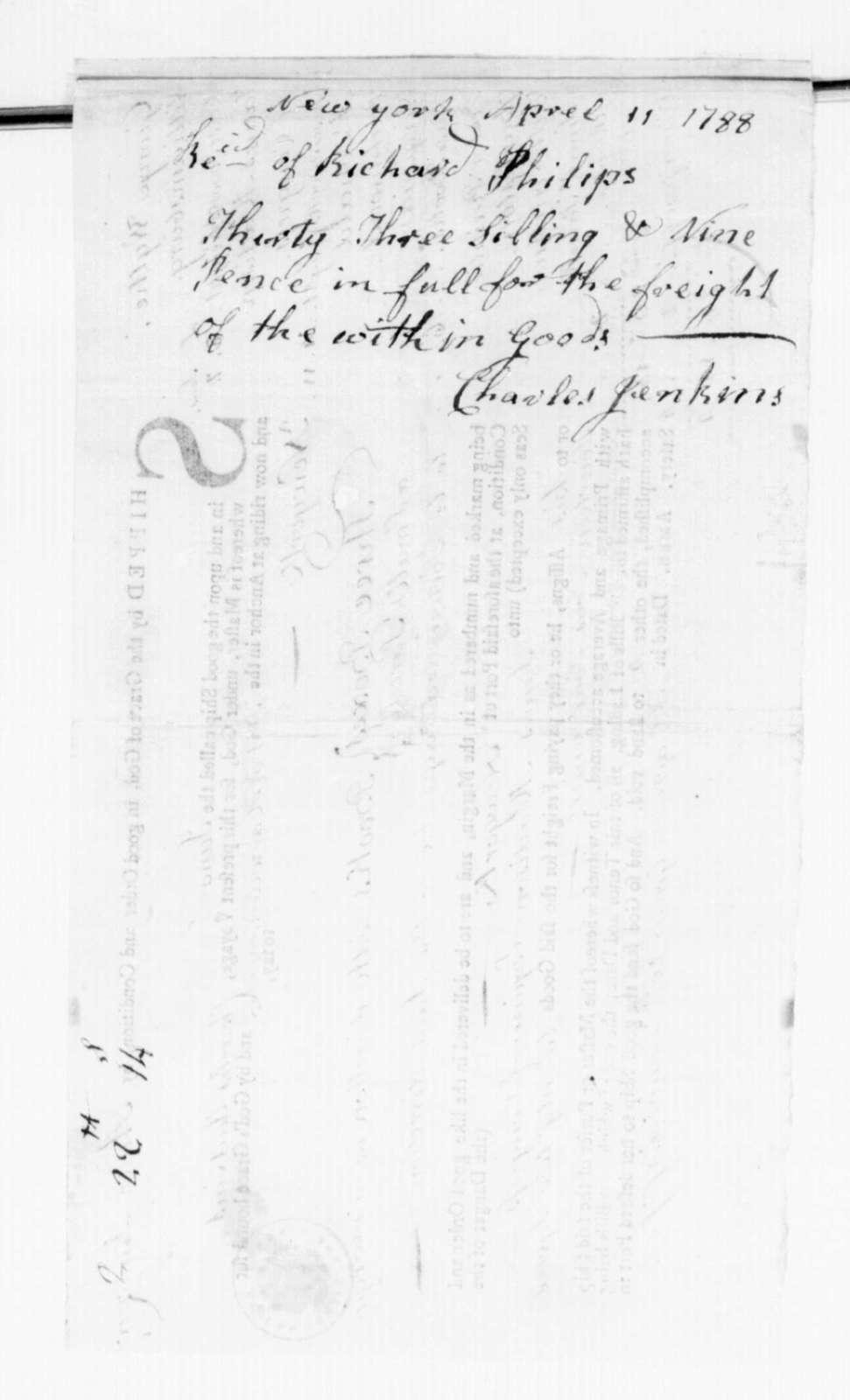 André Limozin to James Madison, December 20, 1787. Bill of Lading.