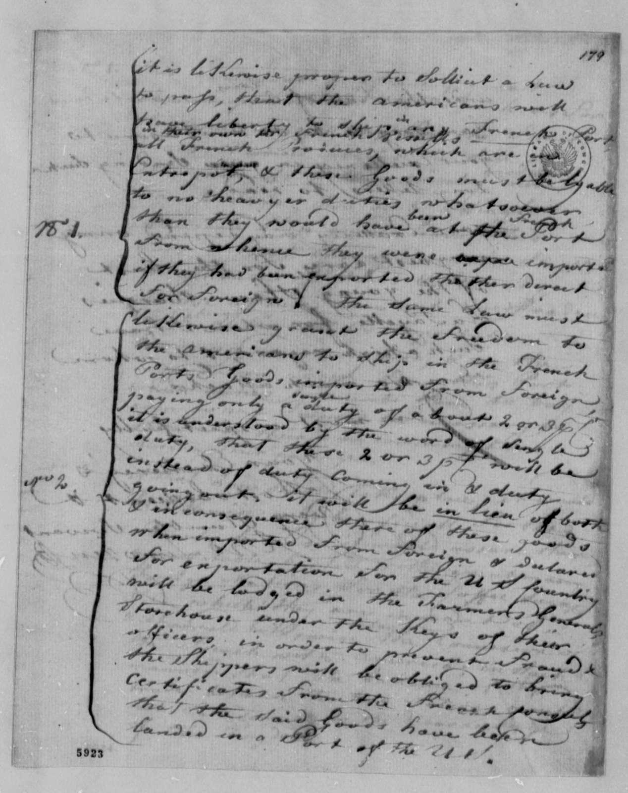 Andre Limozin to Thomas Jefferson, November 18, 1787