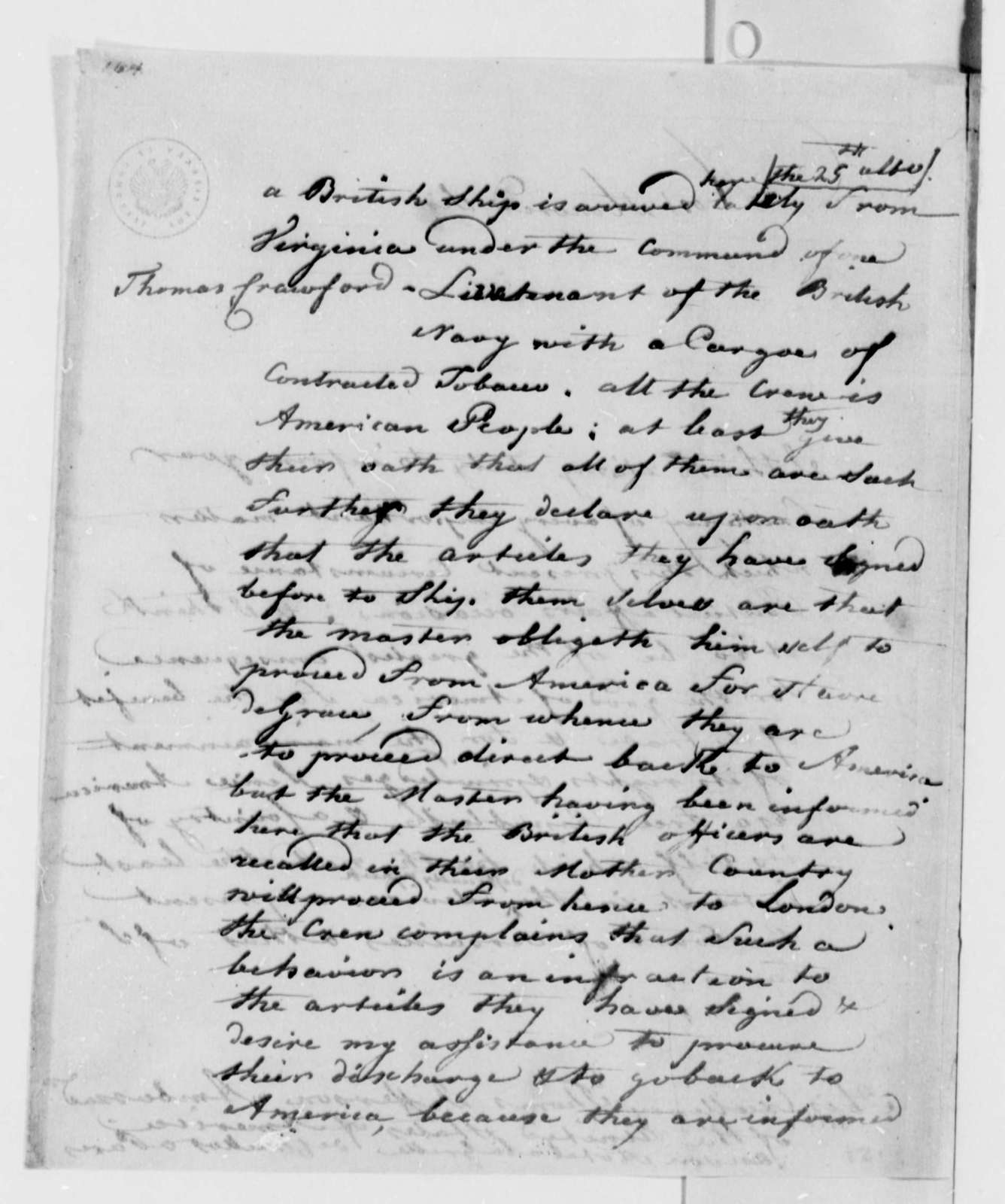 Andre Limozin to Thomas Jefferson, October 14, 1787